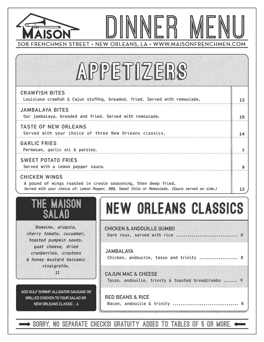 The Maison Dinner Menu 2019 Side 1
